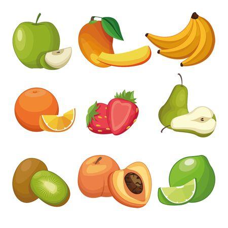 Delicious fruits apple peach bananas pear strawberries peach lemon kiwi set of cartoons over white background vector illustration graphic design