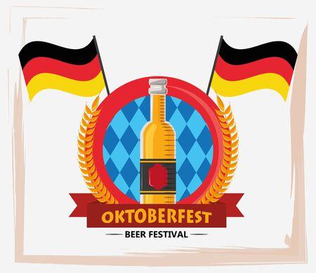 oktoberfest celebration poster with beers bottles vector illustration design 向量圖像