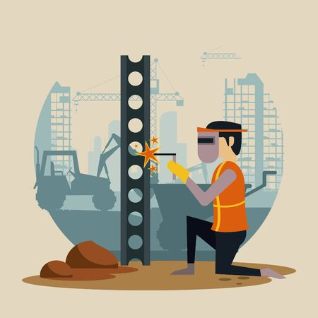 Construction worker with vest and helmet using tools and machinery, under construction buildings and people. vector illustration graphic design
