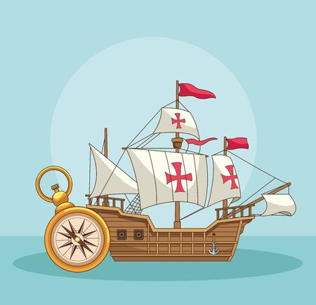 Antique sea navigation tools wooden ship and compass cartoons on blue background vector illustration graphic design Çizim
