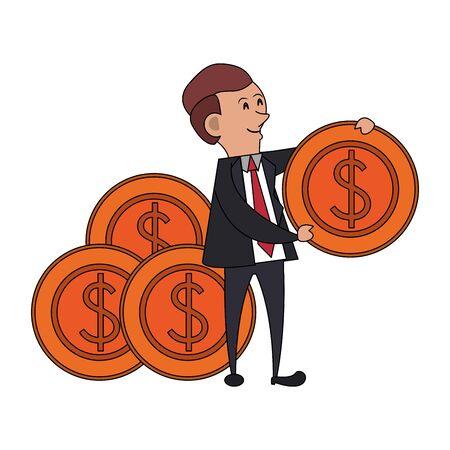 saving money finance banking, executive business man with cash money cartoon vector illustration graphic design
