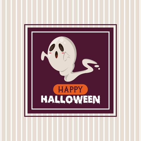 Happy halloween season card poster with funny cartoons striped background ,vector illustration graphic design.