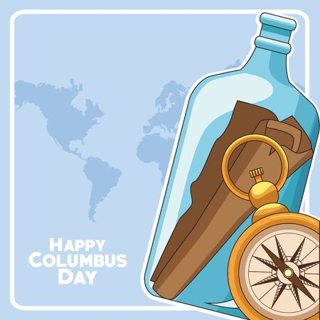 mail in a bottle and compass over blue world map background. Happy Columbus day colorful design, vector illustration