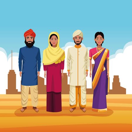 indian group of india wearing traditional hindu clothes on desertscape scenery vector illustration graphic design