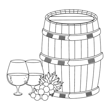 glasses of white wine with bunch of grapes and wine wooden barrel over white background, vector illustration