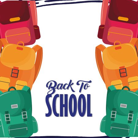 Back to school season card with colorful backpacks cartoons vector illustration graphic design
