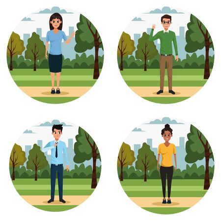 Young men and women in the park scenery set of round icons ,vector illustration. Çizim
