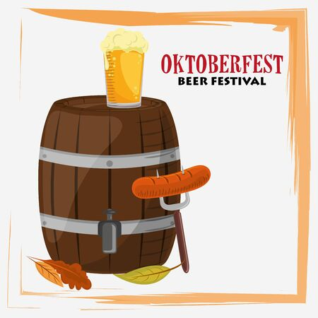 oktoberfest celebration poster with beer and sausages vector illustration design  イラスト・ベクター素材