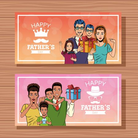 Happy fathers day two banners cards with pop art family holding giftbox cartoon over wooden background vector illustration graphic design