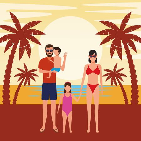 summer vacation people family at beach cartoon vector illustration graphic design Ilustrace