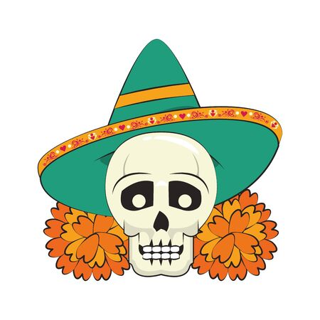 mexican culture mexico festival, dia de los muertos mariachi skull cartoon vector illustration graphic design