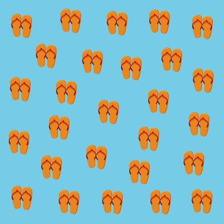 Summer flip flops pattern blue background vector illustration graphic design Stock Illustratie