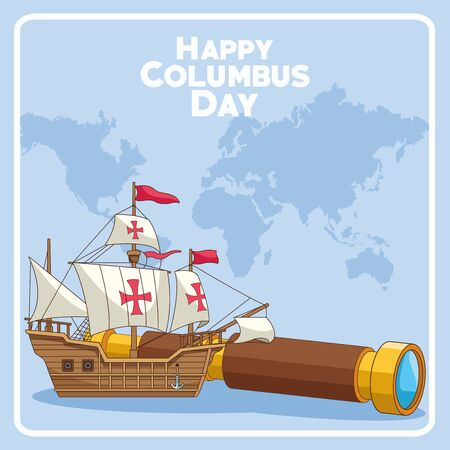 old caravel and spyglass over world map and blue background. Happy Columbus day colorful design, vector illustration Çizim