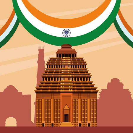 India national monument in the city with pennant-flag. vector illustration graphic design