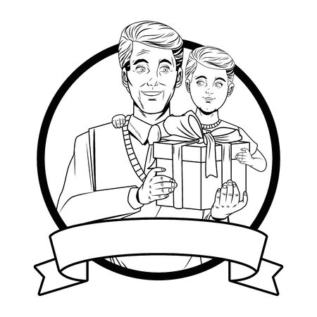 man with sweater and tie carrying  boy with gift box wrapped ribbon bow in round icon banner black and white vector illustration graphic design. Ilustrace