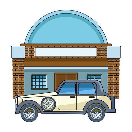 Classic and vintage big house building real estate with classic car parked vector illustration graphic design. Ilustracja