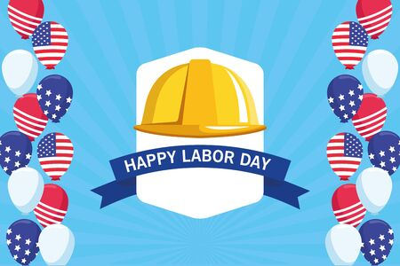 labor day usa celebration american patriotic card, tribute to builder people workers heavy work cartoon vector illustration graphic design