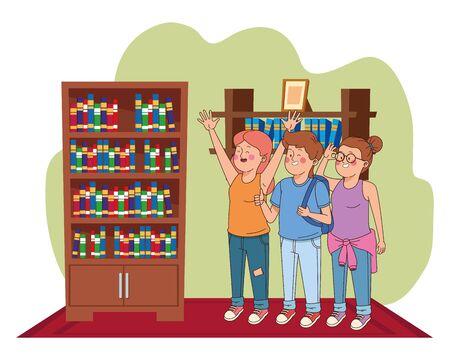 Teenager-Freunde lächeln und grüßen mit cooler Kleidung und Accessoires im Hausarbeitszimmer mit Bibliothek, Vektorgrafik. Vektorgrafik