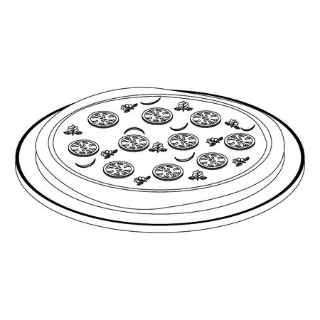 italian round pizza on wooden table icon over white background, vector illustration