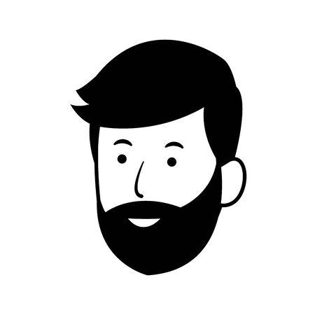happy man with beard icon over white background, vector illustration Archivio Fotografico - 132247273