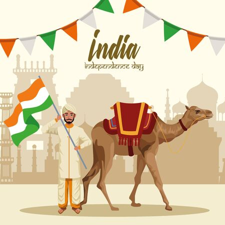 India independence day card indian man holding flag and camel on monuments buildings background ,vector illustration.