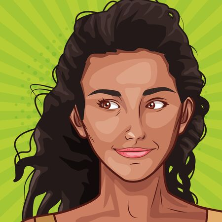 Pop art afro american woman face on colorful background ,vector illustration.