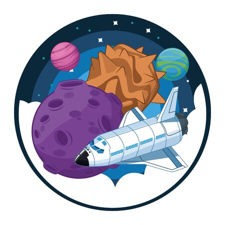space exploration space shuttle and two planets with space landscape with planets and stars in round icon icon cartoon vector illustration graphic design  イラスト・ベクター素材
