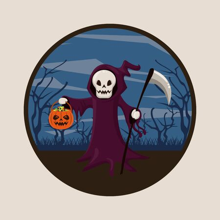 Halloween skull deaht with candies basket and sickle cartoons ,vector illustration graphic design.  イラスト・ベクター素材