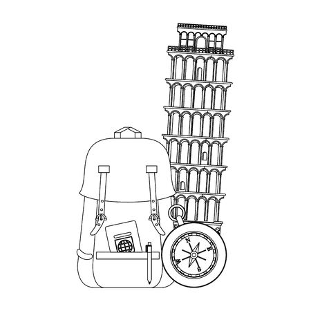 Travel vacations and summer pisa tower with backpack passport and navigation compass cartoons vector illustration graphic design