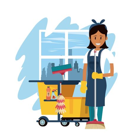 Cleaner smiling and working with cleaning product in home scenery vector illustration Çizim