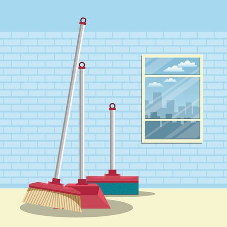 Cleaning products broom and pick in home scenery vector illustration graphic design Çizim