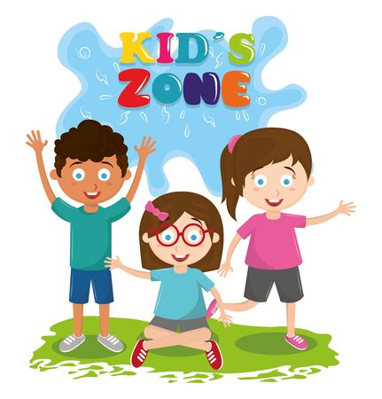kids zone entertaiment three children afroamerican boy and girl wearing glasses all over the grass avatar cartoon character vector illustration graphic design