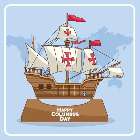 ancienne icône de caravelle sur la carte du monde et fond bleu. Conception colorée de jour de Columbus heureux, illustration vectorielle