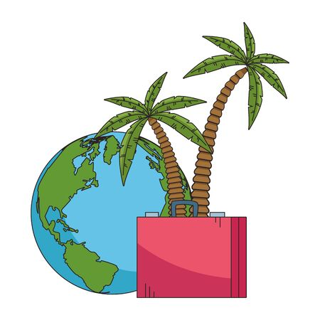 beach palms with suitcase and Earth planet icon over white background, colorful design. vector illustration