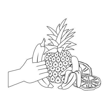 pineapple and banana fruits over white background, vector illustration Vettoriali
