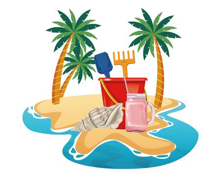 summer beach and vacation with sand bucket with slove and rake toys, seashell and smoothie drink icon cartoon over the sand with palms vector illustration graphic design