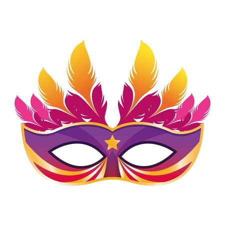 Masquerade mask with feathers over white background, colorful design. vector illustration
