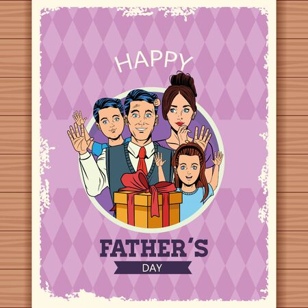 Happy fathers day postcard with pop art family cartoon over wooden background vector illustration graphic design