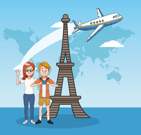 cartoon young couple in the eiffel tower and airplane flying over blue background, colorful design. vector illustration