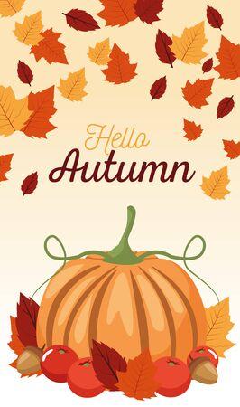 hello autumn season scene with pumpkin and leafs vector illustration design
