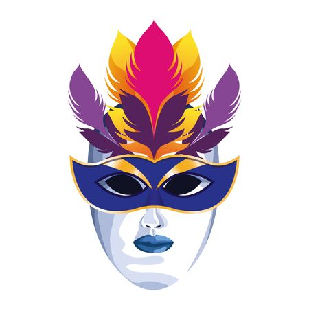 Masquerade mask with colorful feathers over white background, colorful design. vector illustration  イラスト・ベクター素材