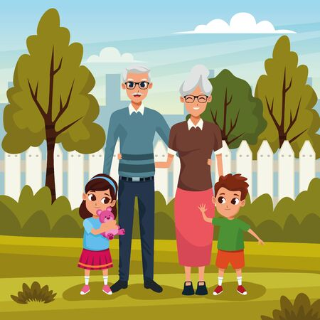 Grandmother and grandfather with grandsons kids playing in the park outdoors cartoons vector illustration