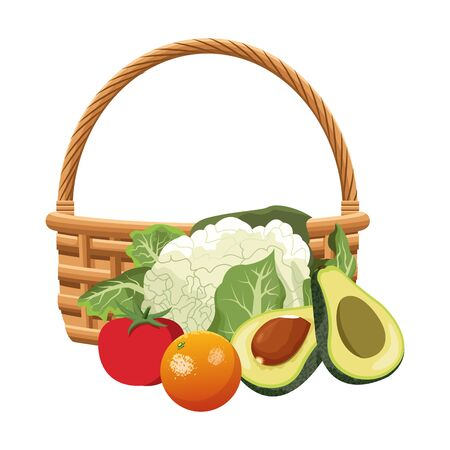 basket with cauliflower and healthy vegetables over white background, vector illustration