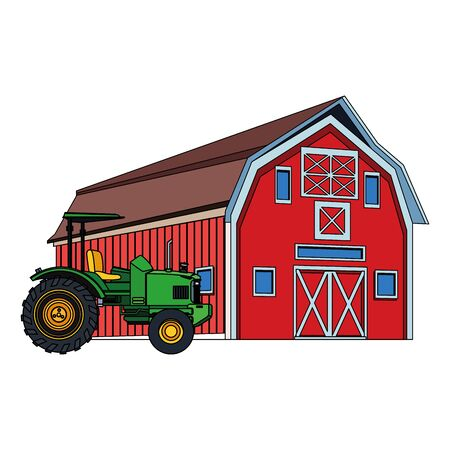 farm truck and wooden farm barn icon over white background, colorful design. vector illustration