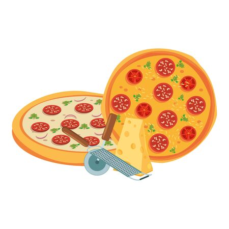 tasty pizzas and cheese piece over white background, vector illustration Ilustração