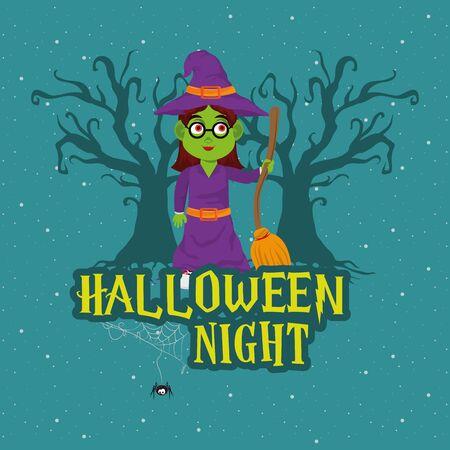 happy halloween scary night dark celebration card, witch holding broom ccartoon vector illustration graphic design Çizim