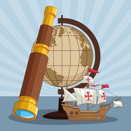 vintage earth globe with old ship and spyglass over blue striped background, colorful design. vector illustration