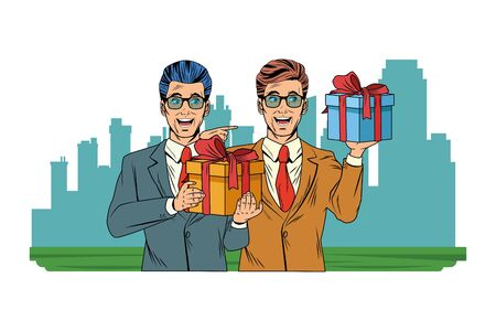 men avatar man with glasses and wearing suit holding a gift boxes profile picture cartoon character portrait with cityscape