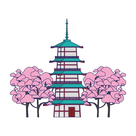 blossom trees around a pagoda temple icon over white background, vector illustration
