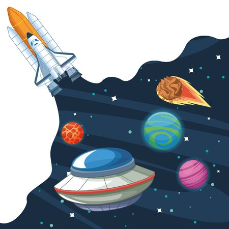 Spaceship in the milkkyway galaxy with planets scenery vector illustration graphic design